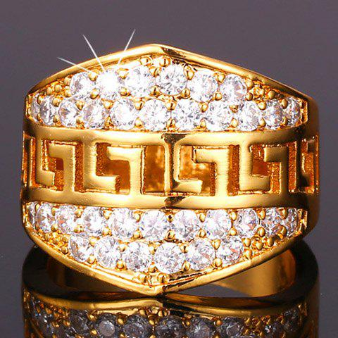 Stunning Rhinestoned Ring For Men - GOLDEN ONE-SIZE