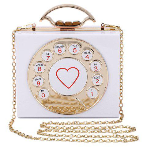 Chic Metal and Telephone Shape Design Women's Evening Bag - WHITE