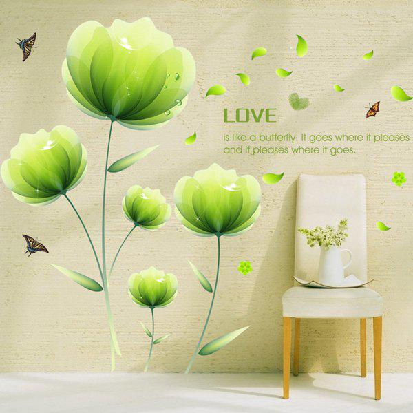 Chic Green Floral Pattern Wall Sticker For Livingroom Bedroom Decoration - LIGHT GREEN