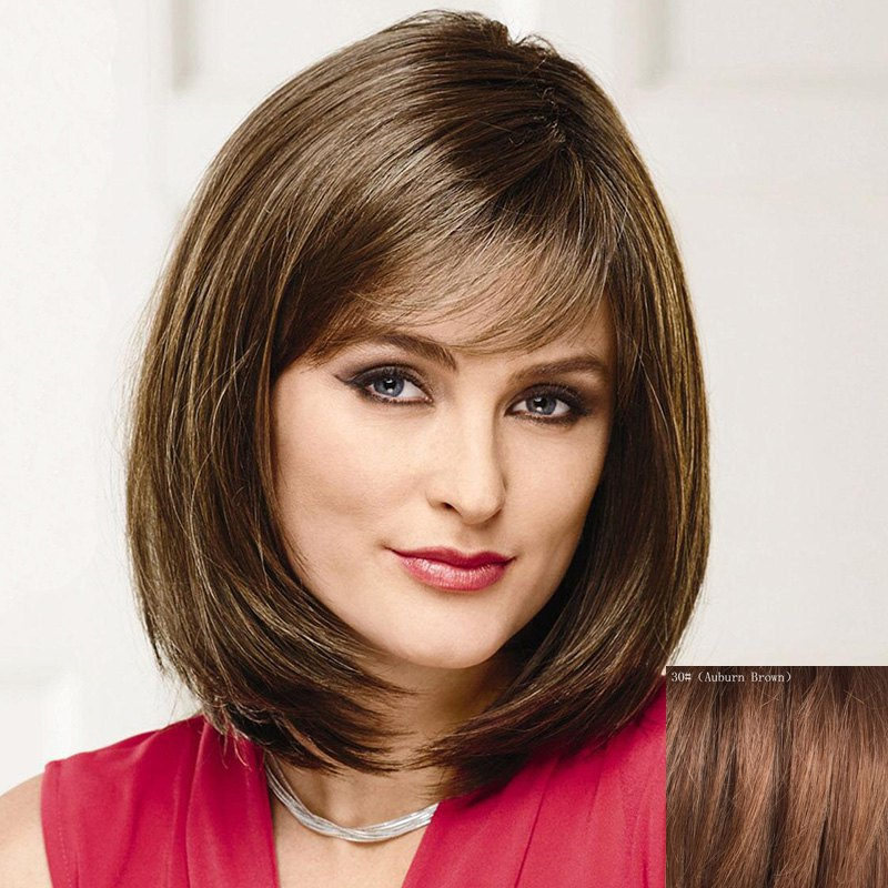 Trendy Short Side Bang Bob Style Straight Capless Real Human Hair Wig For Women - AUBURN BROWN