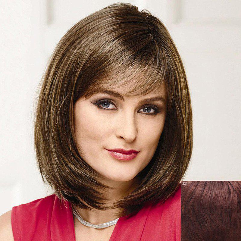 Trendy Short Side Bang Bob Style Straight Capless Real Human Hair Wig For Women - DARK AUBURN BROWN