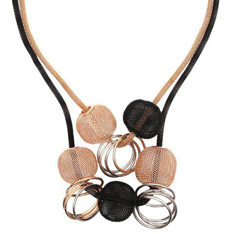 Alloy Multilayer Circle Beads Decorated Necklace - COLORMIX