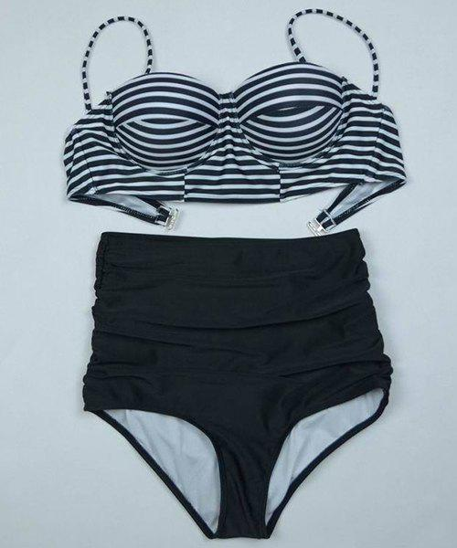 Stylish Spaghetti Strap Stripe Print Push-Up Women's Swimsuit - S BLACK