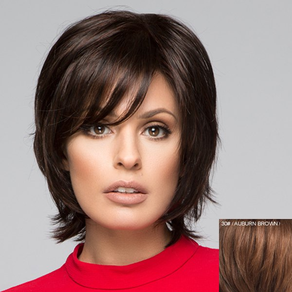 Graceful Inclined Bang Capless Fluffy Short Natural Straight Human Hair Wig For Women - AUBURN BROWN 3