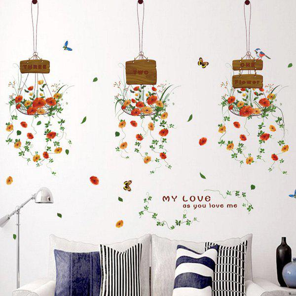 Chic Bonsai Basket Pattern Wall Sticker For Livingroom Bedroom Decoration - COLORMIX