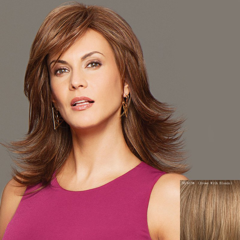 Human Hair Noble Side Bang Fluffy Medium Layered Natural Straight Wig - BROWN/BLONDE