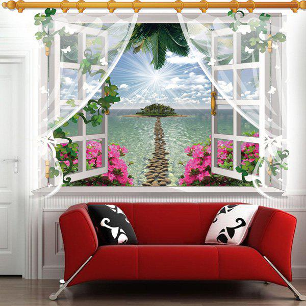 Chic 3D Window Sea Island Landscape Pattern Wall Sticker For Livingroom Bedroom Decoration - COLORMIX