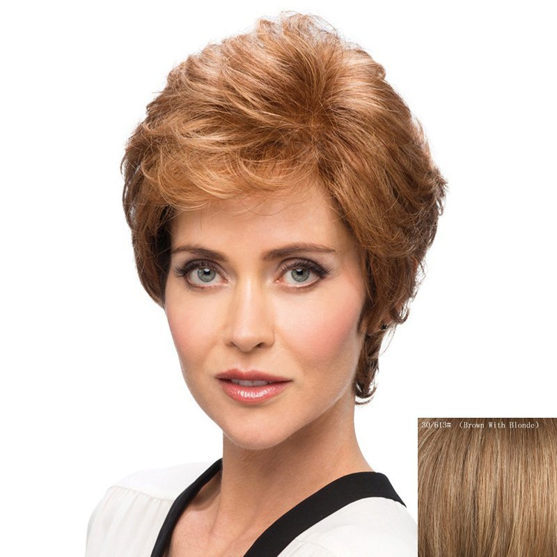 Elegant Short Bouffant Curly Side Bang Capless  Human Hair Wig - BROWN/BLONDE