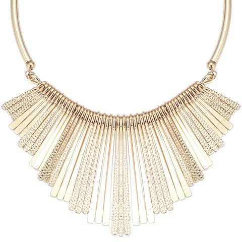 Long Metal Bars Fringed Embossed Necklace - GOLDEN