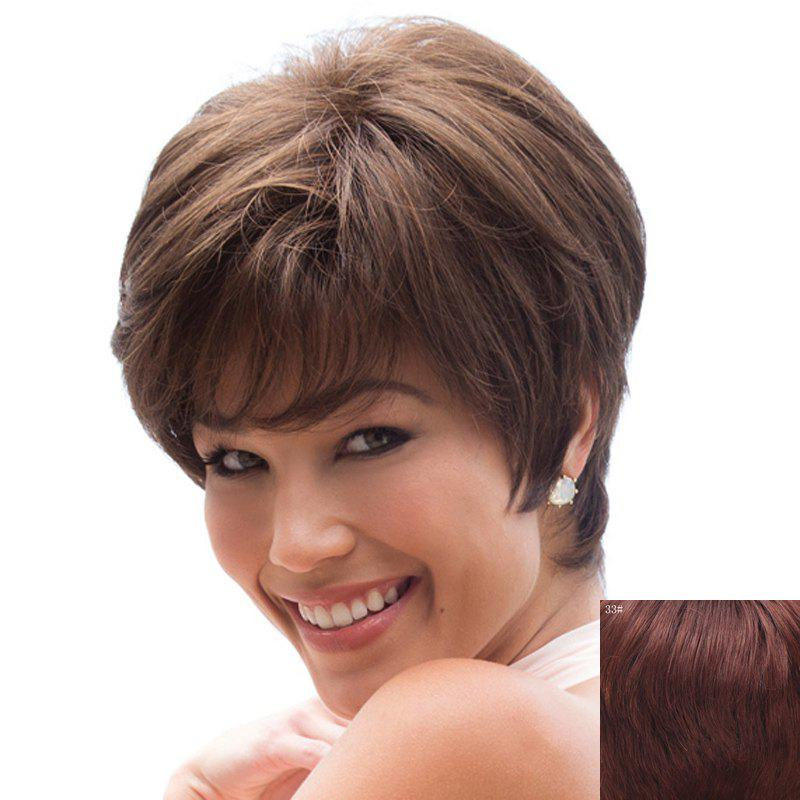 Graceful Side Bang Capless Trendy Straight Short Women's Real Natural Hair Wig - DARK AUBURN BROWN