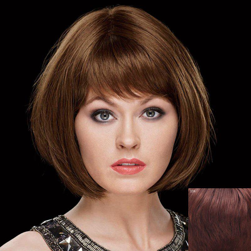 100 Percent Human Hair Sweet Straight Side Bang Capless Bob Style Short Wig For Women
