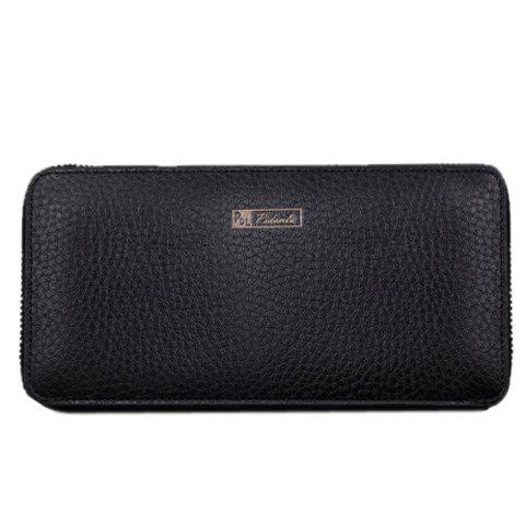 Stylish Solid Colour and PU Leather Design Men's Wallet - BLACK