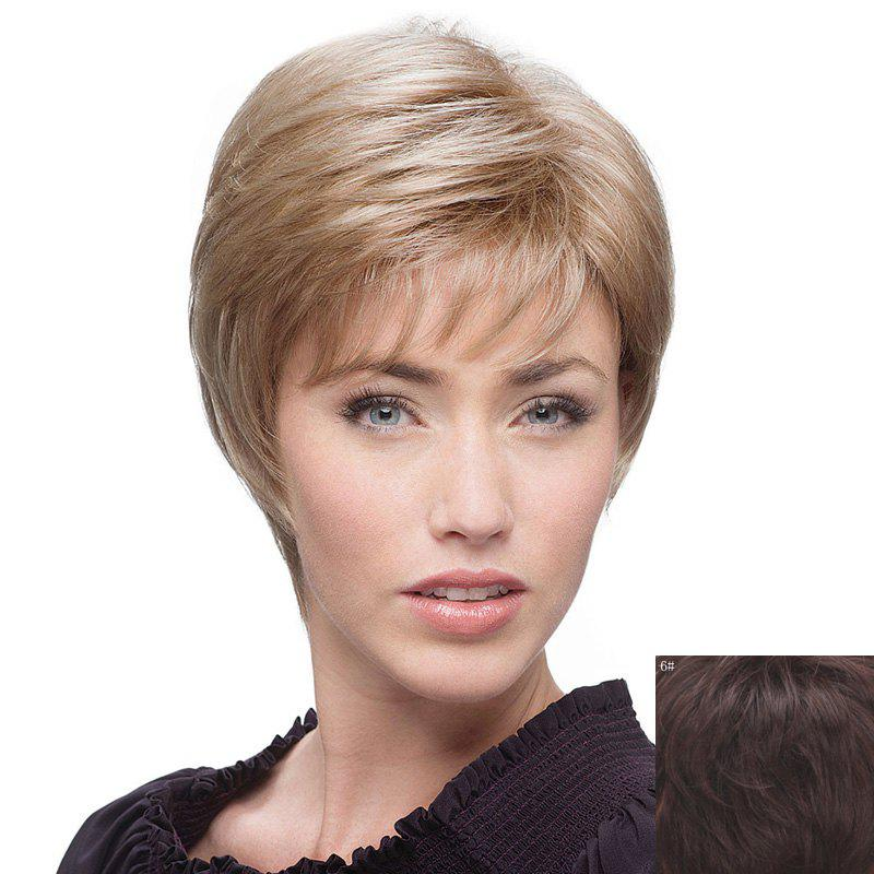 Human Hair Ladylike Side Bang Fluffy Natural Straight Short Wig - MEDIUM BROWN