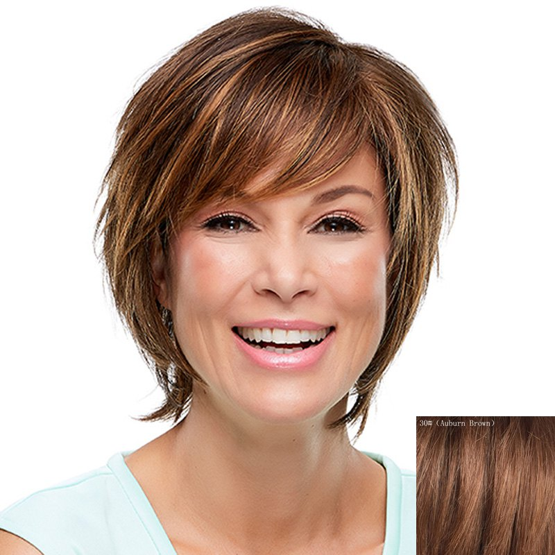 Fluffy Natural Straight Side Bang Fashion Multicolor Short Capless Human Hair Wig For Women - AUBURN BROWN