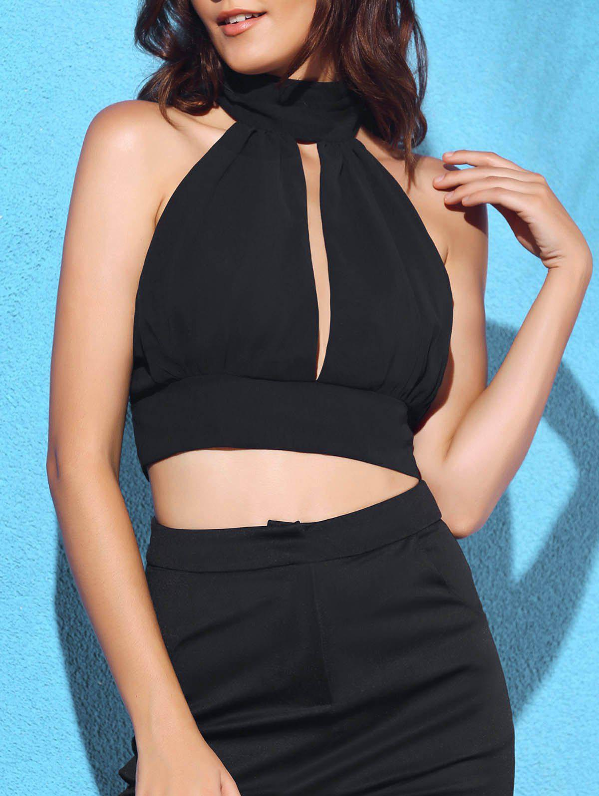 Chic Turtleneck Sleeveless Solid Color Backless Lace Spliced Women's Crop Top - BLACK S