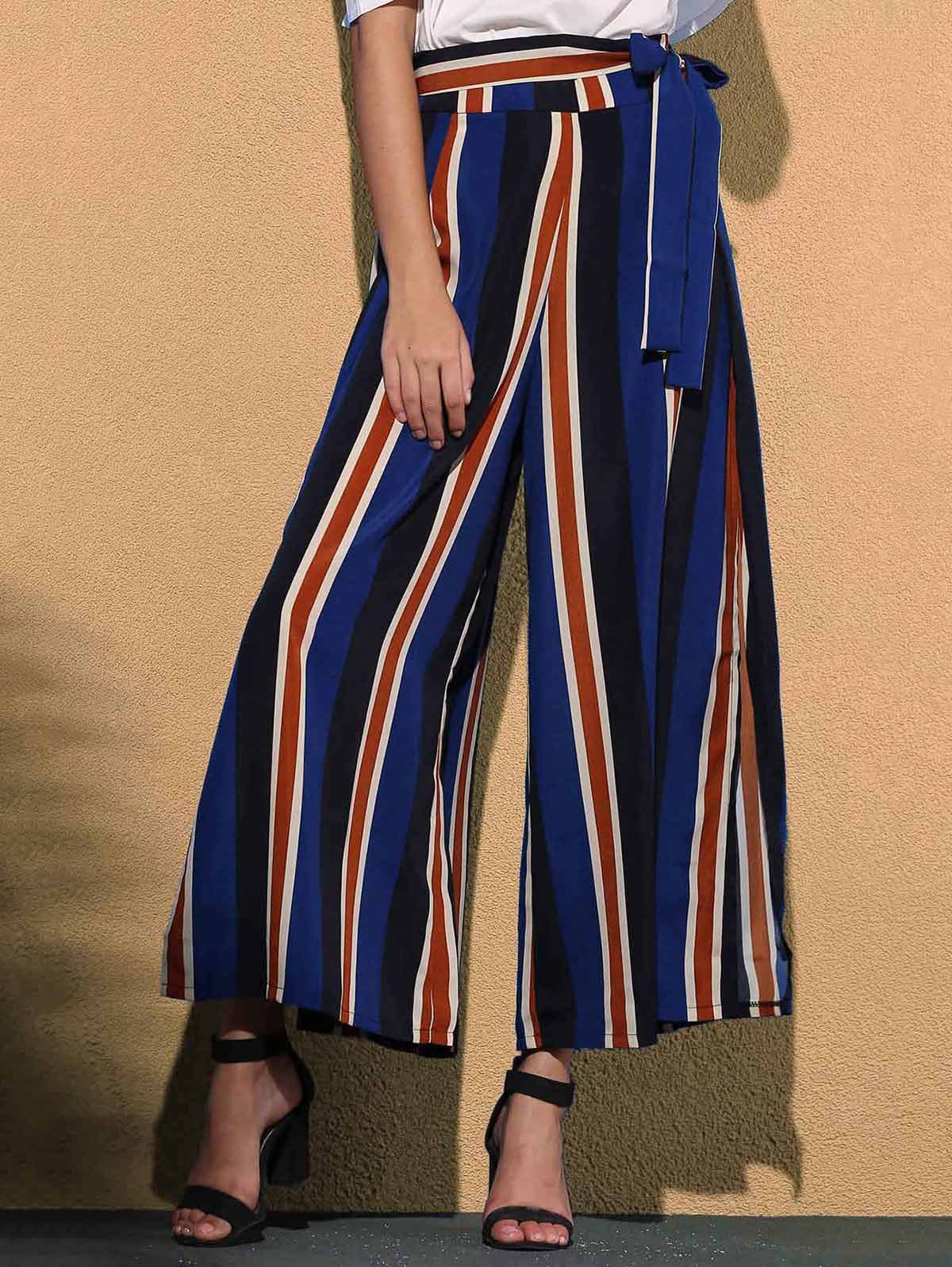 Trendy Mid Waist Colorful Striped High Slit Loose Pants For Women - COLORMIX S