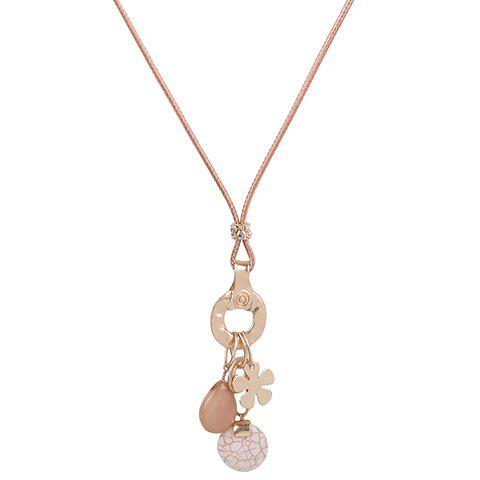 Flower Decorated Faux Gem Pendant Necklace - COLORMIX