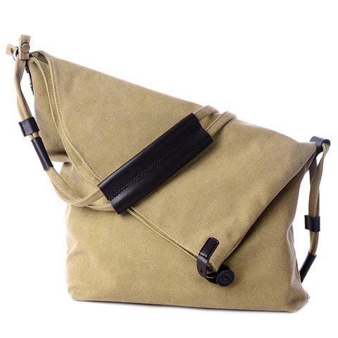 Simple Canvas and Button Design Women's Shoulder Bag - KHAKI