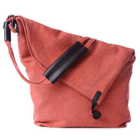 Simple Canvas and Button Design Women's Shoulder Bag - WATERMELON RED