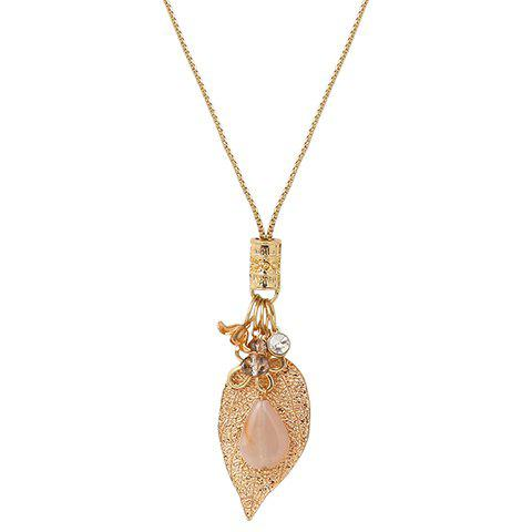 Stylish Faux Crystal Flower Leaf Shape Pendant Necklace For Women