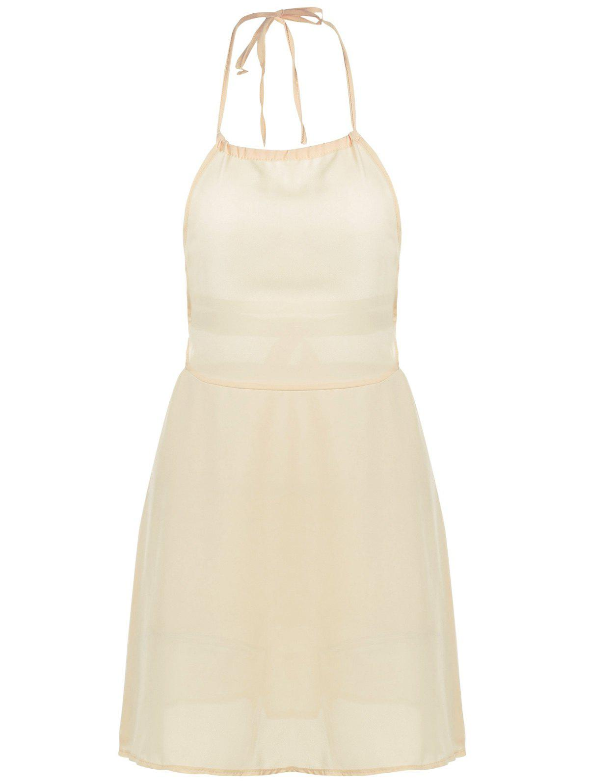 Trendy Solid Color Sleeveless Backless Halter Dress For Women - LIGHT YELLOW S