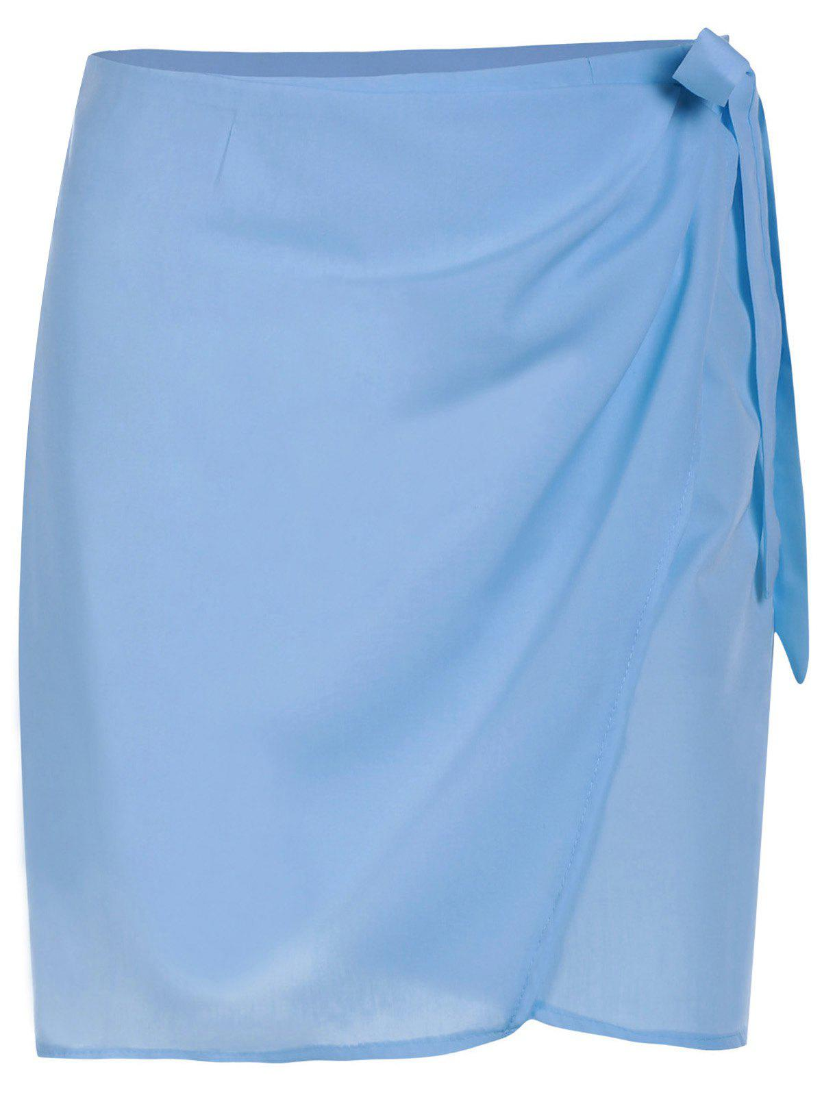 Trendy Light Blue Lace-Up Mini Skirt For Women - LIGHT BLUE S