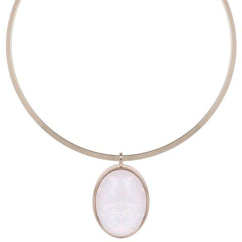 Artificial Gem Oval Decorated Pendant Necklace - WHITE/GOLDEN