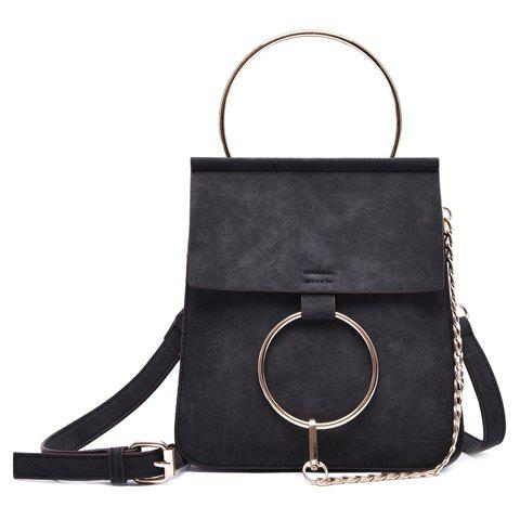 Stylish Solid Colour and Metal Ring Design Women's Crossbody Bag - BLACK