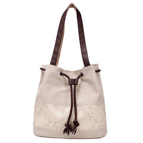 Leisure Floral Print and Canvas Design Beach Shoulder Bag - OFF WHITE