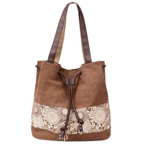 Leisure Floral Print and Canvas Design Women's Shoulder Bag - BROWN