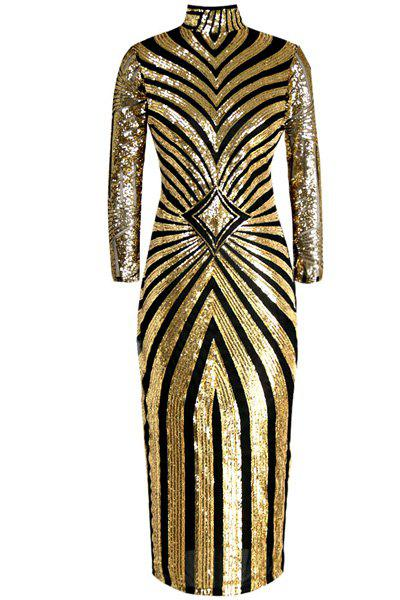 Stylish Women's Stand Collar Long Sleeve See-Through Sequined Dress - GOLDEN L