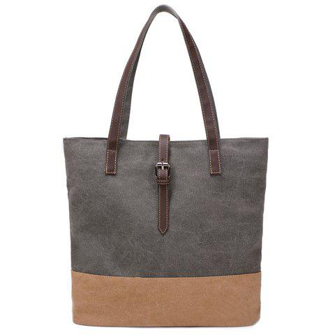 Simple Canvas and Buckle Design Women's Shoulder Bag - GRAY