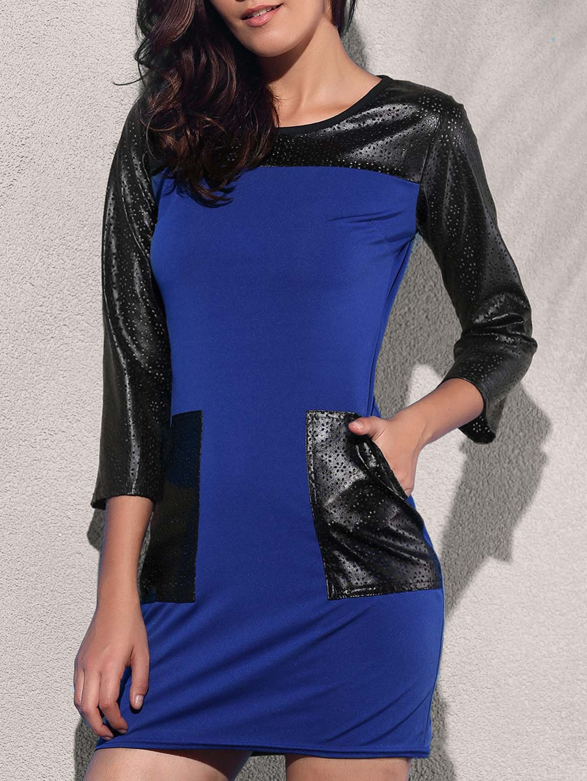 Trendy 3/4 Sleeve Round Collar Pocket Design Leather Spliced Women's Dress - BLUE L