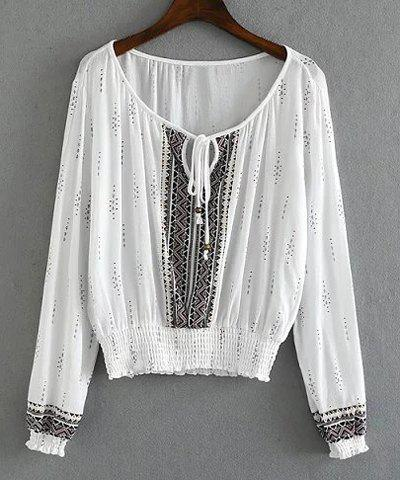 Ethnic Style Scoop Collar Long Sleeve Printed Loose Women's Blouse - WHITE M