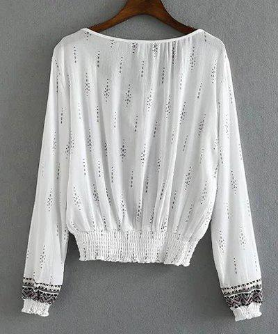 Ethnic Style Scoop Collar Long Sleeve Printed Loose Women's Blouse - WHITE L