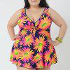 Stylish Women's V-Neck Sunflower Print Swimsuit - ORANGE 4XL