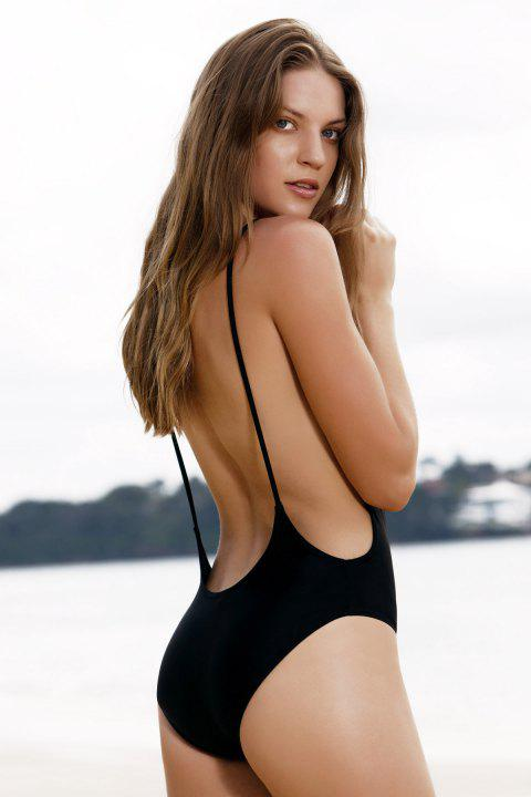 Monokini High Cut Backless One Piece Swimwear - BLACK L