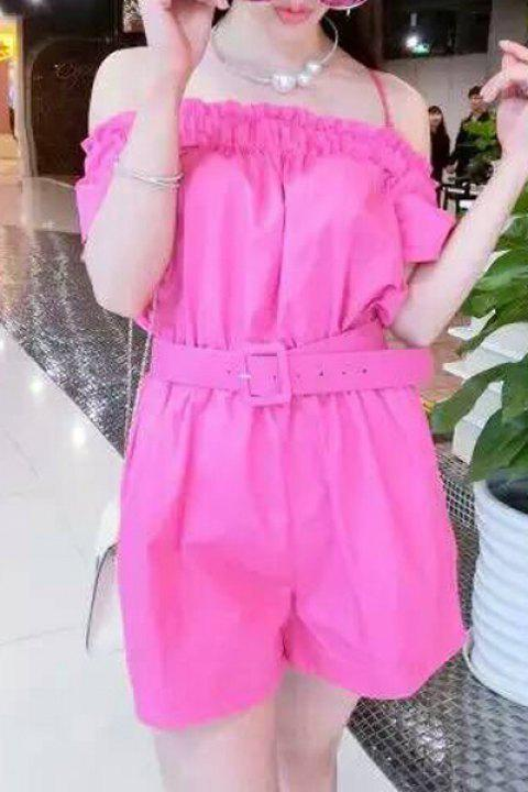 Trendy Women's Strappy Solid Color Belted Romper - ROSE ONE SIZE(FIT SIZE XS TO M)