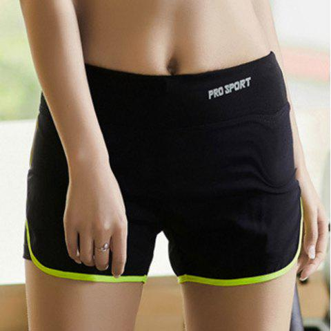 Simple Super-Elastic Skinny Multicolor Women's Sport Shorts - NEON GREEN XL