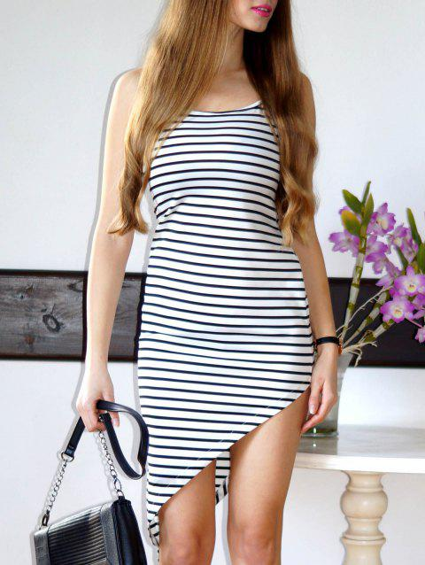 Stylish Spaghetti Strap Asymmetrical Striped Women's Dress - WHITE M