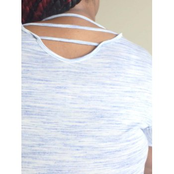 Plus Size Stylish V-Neck Short Sleeve Loose-Fitting Hollow Out Women's T-Shirt - WHITE 4XL
