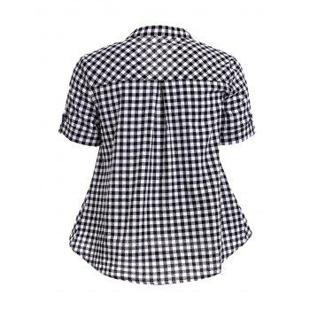 Stylish Women's V-Neck Short Sleeve Lace-Up Plaid Blouse - BLACK S