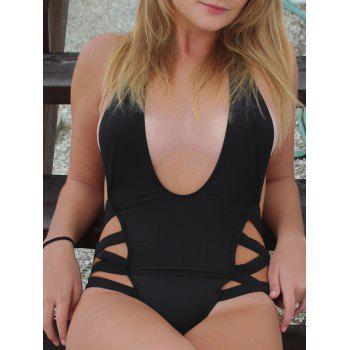 Sexy Black Halter One-Piece Swimsuit For Women