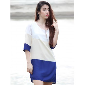 Casual Scoop Neck Color Block 3/4 Sleeve Women's Dress - M M