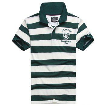 Stripe Turn-Down Collar Badge and Letter Embroidered Short Sleeve Men's Polo T-Shirt