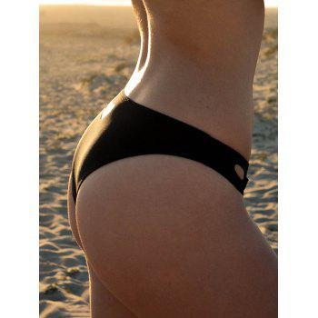 Trendy Women's Love Heart Hollow Out Solid Color Swimming Briefs - BLACK S
