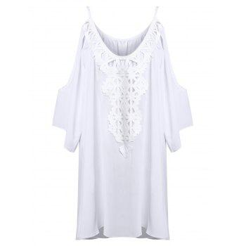 Cold Shoulder Bat Sleeve Lace Panel Dress