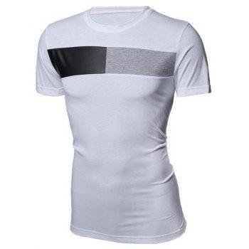 Modish Round Neck Color Block PU-Leather Splicing Short Sleeve Men's T-Shirt - WHITE WHITE
