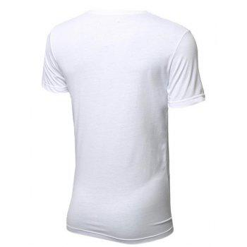 Modish Round Neck Color Block PU-Leather Splicing Short Sleeve Men's T-Shirt - L L