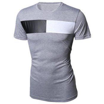 Modish Round Neck Color Block PU-Leather Splicing Short Sleeve Men's T-Shirt - LIGHT GRAY 2XL